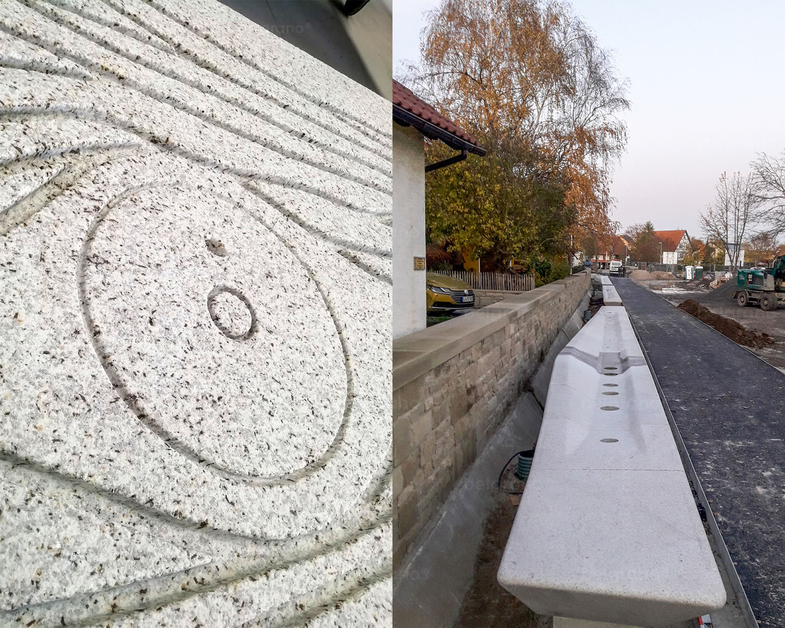 Detail eines Bauteils vom Brunnenband aus belgrano® Granit für die Landesgartenschau in Eppingen